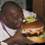fat guy, big burger