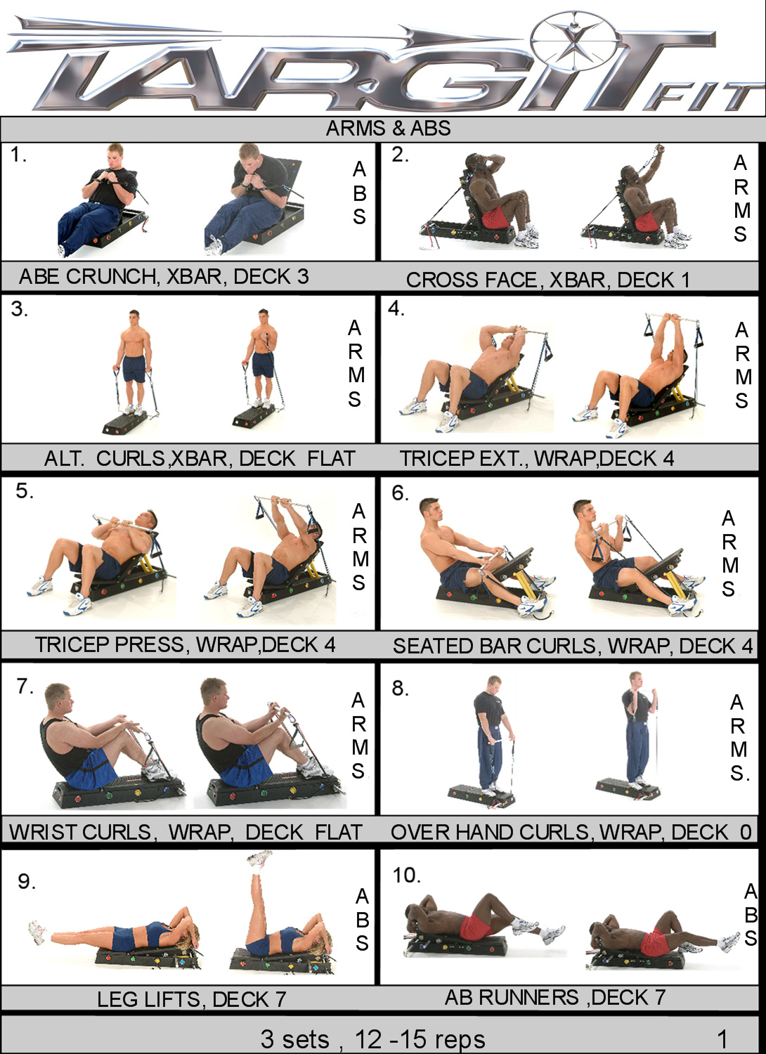 workout charts for the targitfit portable gym