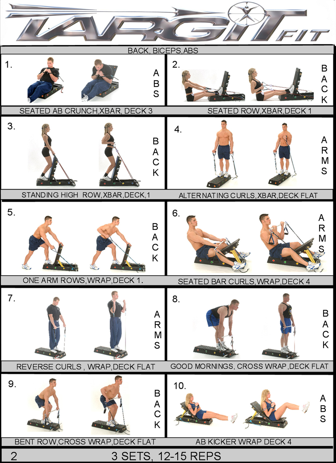 Back Biceps Abs Workout Chart