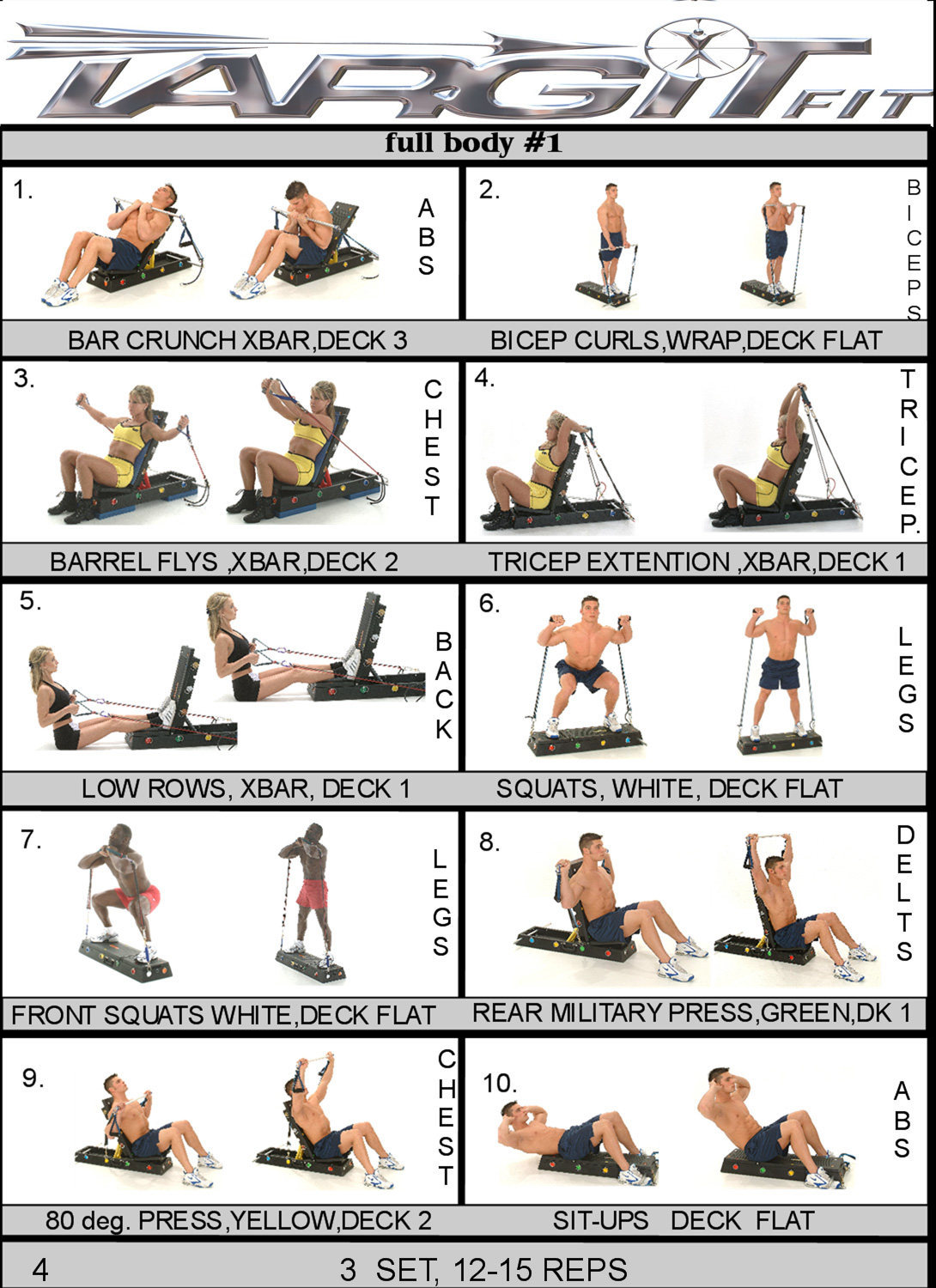 Full Body 1 Workout Chart