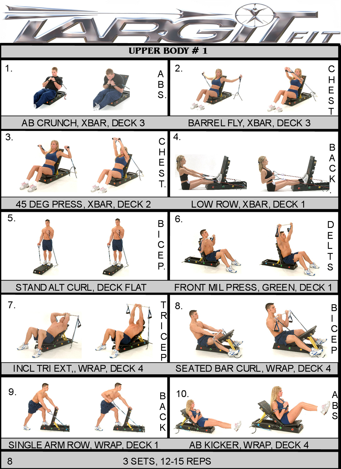 Workout charts for the targitfit portable gym upper body workout chart nvjuhfo Choice Image
